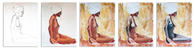Nude with Blue Turban Combo 01