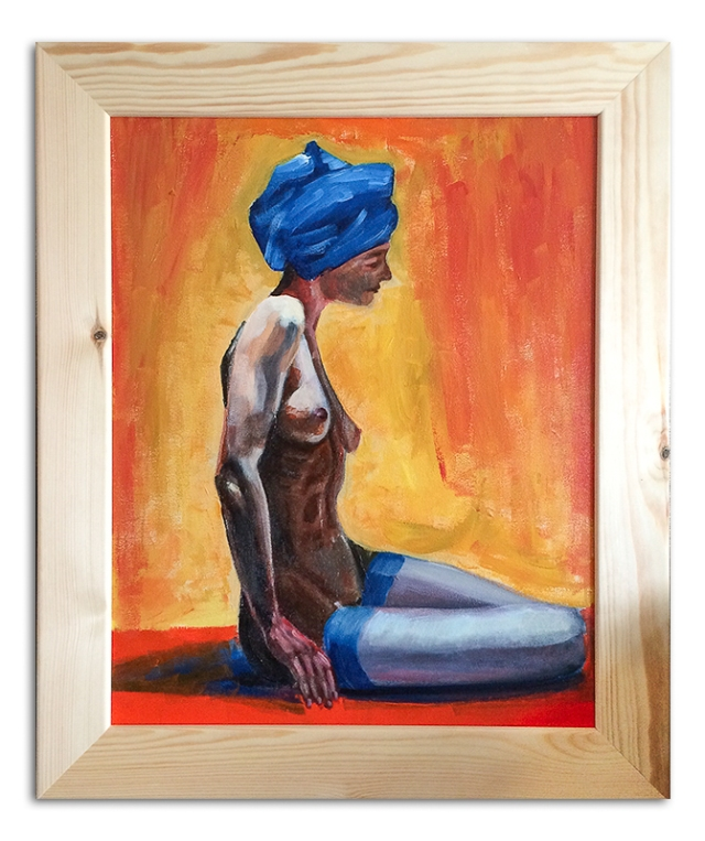 Girl in Blue Turbin in Frame