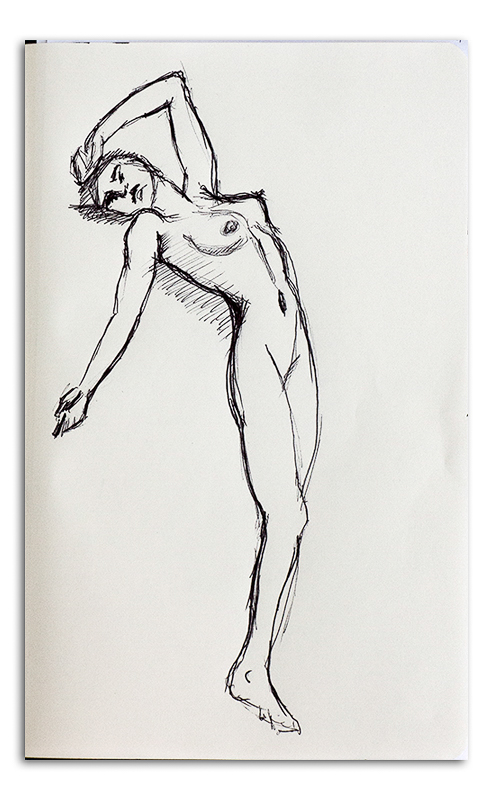 Nude Woman Ink Drawing - Reclining