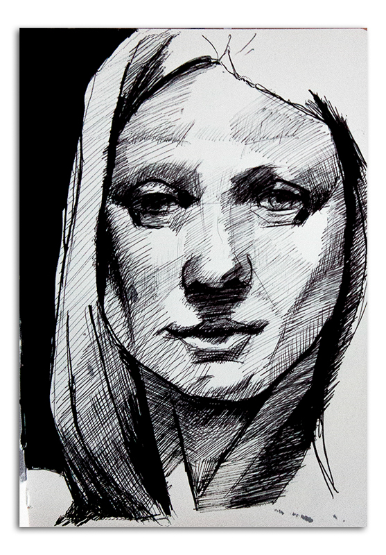 Portrait of Woman in Ink