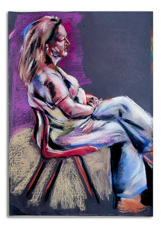 Pastel Painting of Woman Sitting