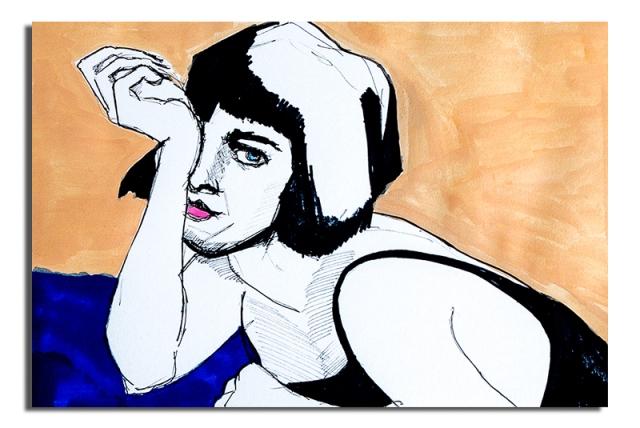 Girl on blue cloth