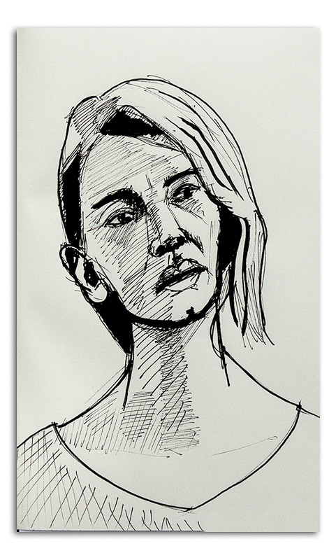 Ink Drawing - Woman 002