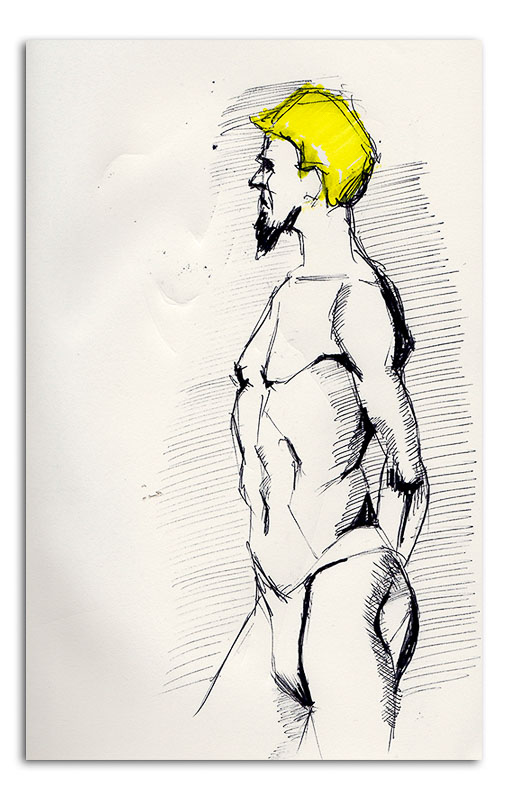 Male study with yellow hair