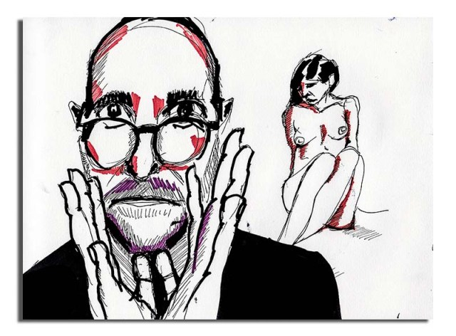 Man with glasses and nude woman
