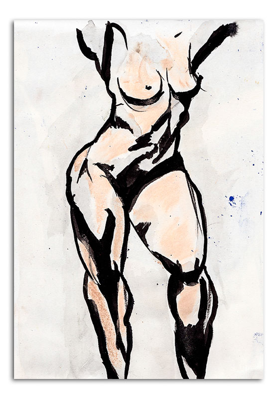 NUde Woman Torso - Ink Drawing