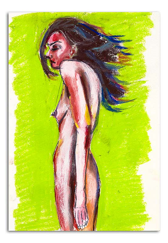 Nude Woman with Green Background