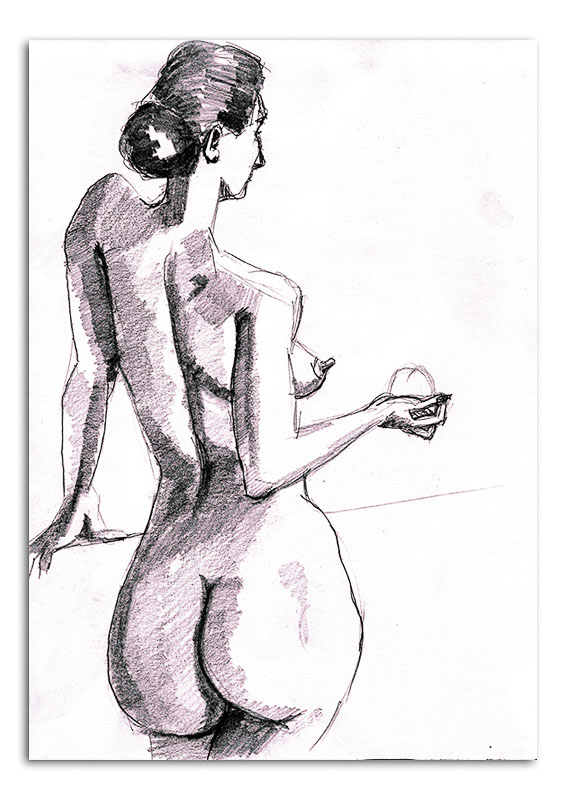 NUde woman holding a round object