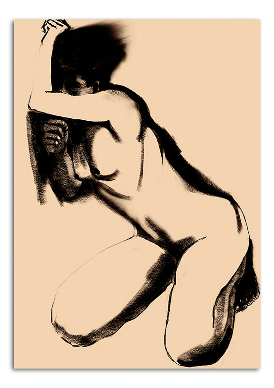 Noir Nude learning against wall