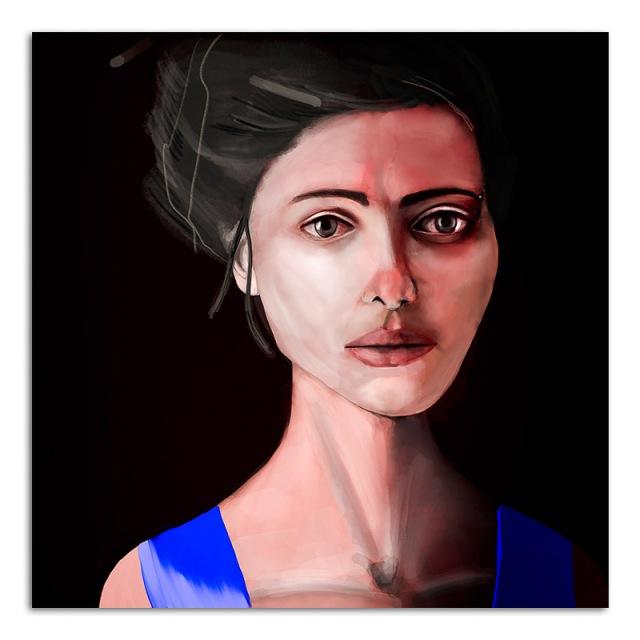 Sad Eyes in a blue dress